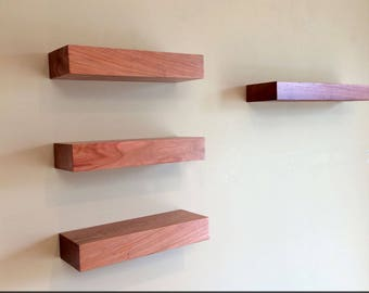 """Set of 4 Solid Wood Cherry Floating Shelves, 12"""" & 18"""" (No. 127)"""