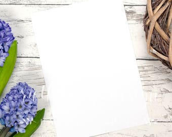 Blue Flower A4 styled stock photo, flat lay background for Hand-Lettering