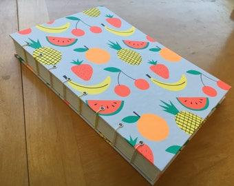 Bright & Fruity Sketchbook // Neon Bananas, Strawberries, Cherries, Pineapples // Handmade Journal // Hardcover // Coptic Stitch // Fun Gift