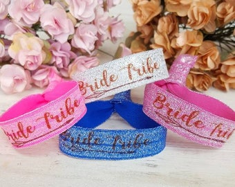 Personalized bride tribe wristbands - Bride Tribe Hair ties - Bachelorette Party Favors - Custom Hair Ties - Bride Tribe - Hen Party -