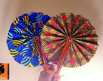 Ankara African Leather Fan - Different Colors Available