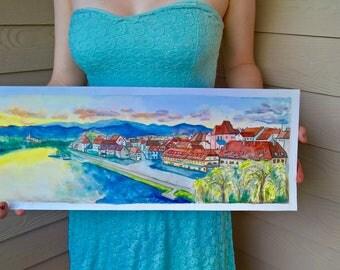 Maribor, Slovenia Lent Na Drava City Scape Giclee Watercolor Print