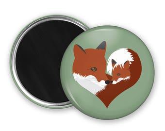 Fox Fridge Magnet nature lover gift mothers day gift kitchen magnet refridgerator magnet heart button magnet party favours wildlife magnet