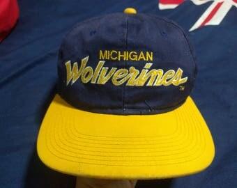 Michigan Wolverines Snapback Hat--Vintage Script NCAA Cap