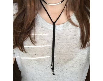 Leather wrap silver bar choker necklace