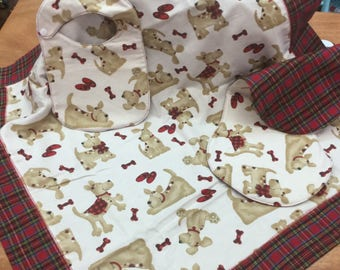 Little Cute Doggie /Red Plaid Receiving Blanket Set. Includes Burping Pad and Newborn Bib, Reversible