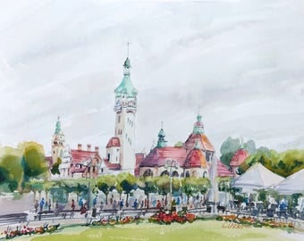 Watercolour landscape painting, Original Impressionist Art, Sopot, lighthouse painting, Cityscape, Holiday