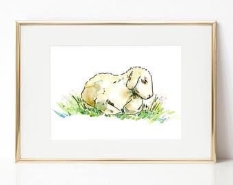 Little lamb DIGITAL DOWNLOAD, Easter Printable Art, Spring Printable Art, Baby animals, Nursery Art, Sheep artwork, Lamb of God art