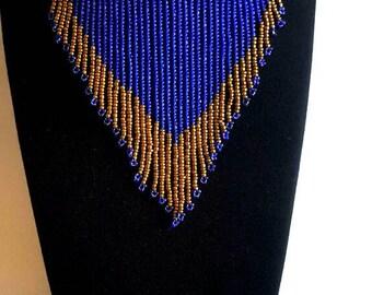 Zulu choker bead necklace, royal blue necklace, choker necklace, African beads