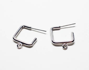 E0193/Anti-Tarnished Rhodium Plating Over Brass/Sqaure Stud Earrings/15x19mm/ 2pcs