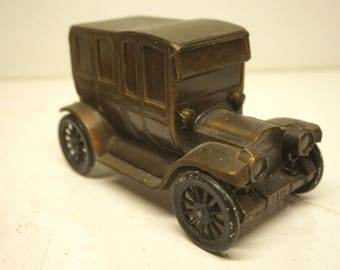 Vintage First National Bank of Cortland Metal Coin Bank, Antique Car, Advertising, Local, Regional, Cast Metal