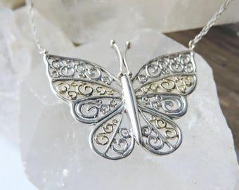 Butterfly Sterling Silver and 10k Gold Necklace