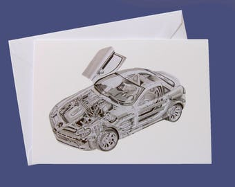 X-ray Mercedes McLaren SLR A6 Greeting Card