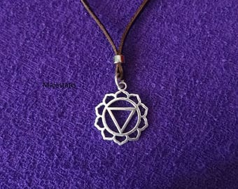 Genuine leather lotus flower mandala necklace with zamak mandala circle feminine triangle mens necklace womens leather choker namaste yoga