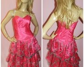 Vintage 80s Pink Green AVANT GARDE Strapless Rara Prom Party dress 68UK 24US Xs Xxs 1980s Extreme Kitsch Material Girl
