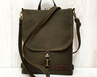 """Forest Green Waxed Canvas Backpack, Green Water Repellent Rucksack, Unisex Backpack, Solid Functional Crossbody Bag, 11"""" Macbook Backpack"""