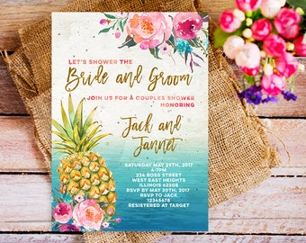 pineapple couple shower invitation, tropical couple shower invitation, summer couple shower invite, beach couple shower invitation pineapple