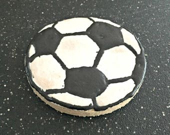 Frosted Soccer Ball Dog Cookies - 4 Pack