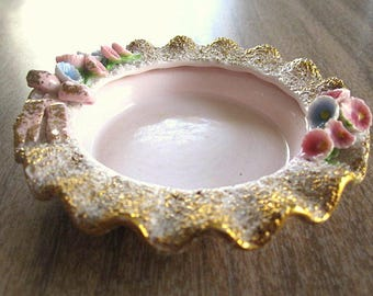 Vintage 50s Lefton China Pink RIng Dish with Gold and Flowers