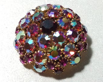Vintage Rhinestone Dome Pin Brooch Aurora Borealis purple and Red Signed Warner