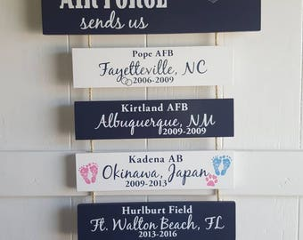 Home is where the Air Force (Navigator) sends us/you/me, Air Force Pilot, Patriotic Wall Décor, Legacy Sign, Air Force Duty Station