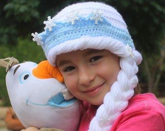 Queen Elsa kids hat, FROZEN Elsa dress-up HAT, Girls Snow White Queen ELSA hat, Queen Elsa wig, Girls Queen Elsa hat