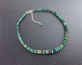 Genuine Turquoise Necklace, Graduated Natural Blue & Green Chinese Turquoise Rondelle Beaded Necklace