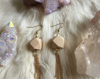 Geometric Wooden Beads with Golden Tassel Earrings