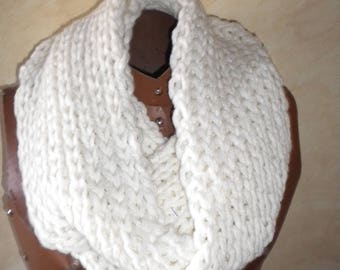 scarf cowl or snood hand knit with white corded briant