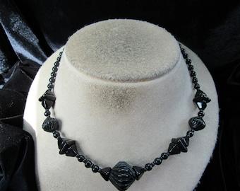 Vintage Black Glass Beaded Necklace