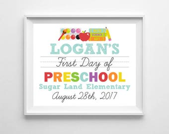 First Day of School, 1st Day of Preschool, Kindergarten Printable Digital Poster White Sign, Boy Back to School, Photo Prop Personalized