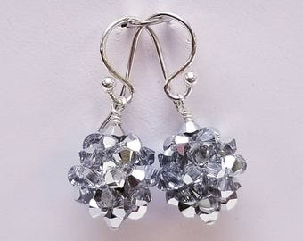 Swarovski, Crystal Cal, Crystal Ball, woven, Sterling silver, earrings