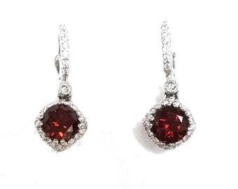 Petite Tacori Garnet and Diamond Dangle Earrings  FREE SHIPPING!!!