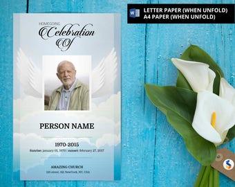 ANGEL WING   Funeral Program Template, Obituary Program, Memorial Program Template, Microsoft Word Template -v15