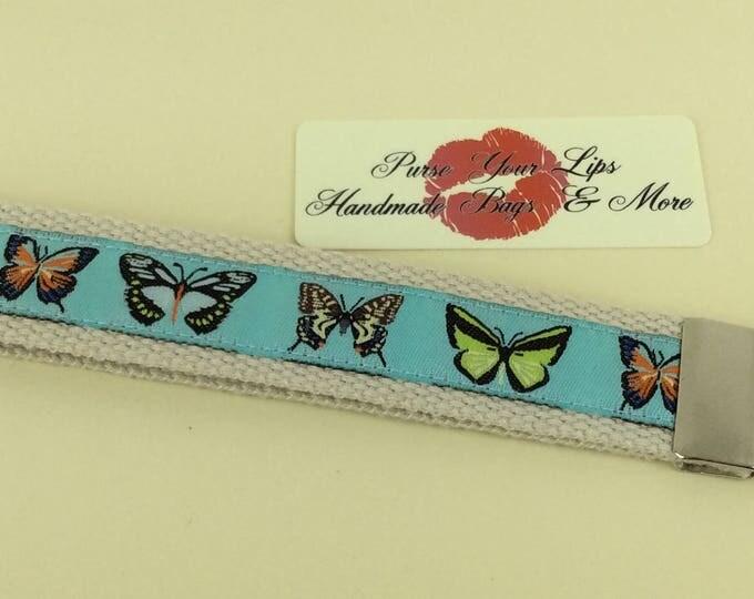 Butterfly webbing key fob wristlet key ring lanyard wedding favour handmade in England
