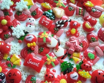 Cute Christmas Flatbacks - Kawaii Cabochons Grab Bag Christmas - Holiday. Cabochons - Decoden Supplies - Jewelry Making - Kids Crafts