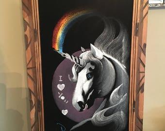 Vintage 1970s 1980s  Velvet Unicorn Rainbow Painting