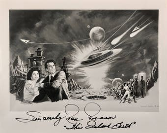 This Island Earth Signed Picture, Rex Reason, 8x10 Autographed Vintage Sci Fi Classic Photo, Black and White, Certificate of Authenticity