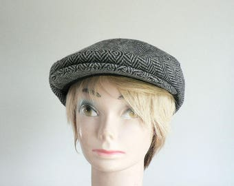 Gray Herringbone Tweed Newsboy Cap