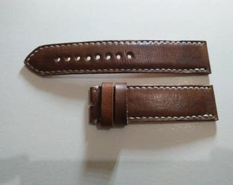 Brown Leather Watch Strap 24 mm. Handmade Leather Watch Band