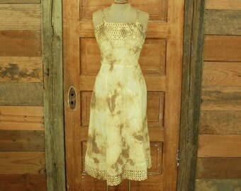 SALE vintage 1950s gold hand tie dyed cotton eyelet slip sun dress gown XS S