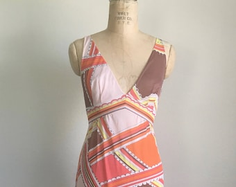 1960s Emilio Pucci Formfit Rogers Print Nightgown Authentic Vintage