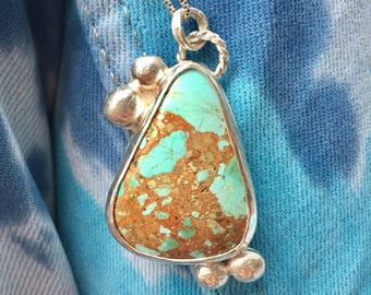 Handmade turquoise sterling and fine silver necklace