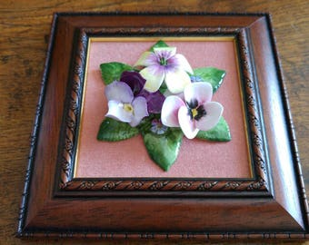 Fine English bone china flowers in a frame