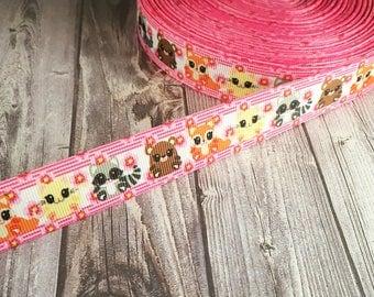 Animal ribbon - Fox ribbon - Racoon ribbon - Bear ribbon - Cat ribbon - Baby animals - Grosgrain ribbon - Cute cubs - Baby fox ribbon