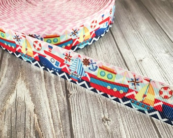 Nautical ribbon - Sea ribbon - Sail boat ribbon - Tug boat ribbon - Ancho ribbon - Pink blue - Grosgrain ribbon - Themed ribbon - Chevron