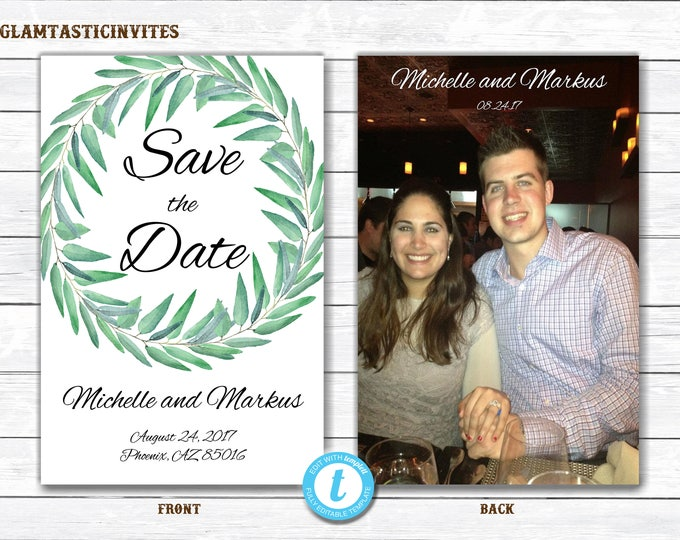 Save-The-Dates, Printable Save the Date Postcard, Save the Date, Template, Postcard, Printable Save the Date, Eucalyptus, Templett, You Edit