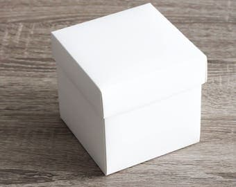 """Single White Wedding Cupcake Boxes, Large Favor Boxes, Inserts, Birthday Party Favor Boxes, Standard Cupcake Boxes 10 boxes 4x4x4"""""""
