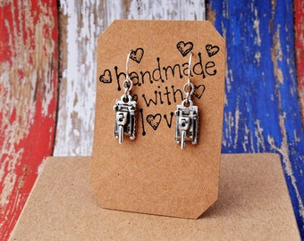 Army Tank Earrings, Military, Silver Dangle Charms, Sterling Silver Wires, Support Our Troops. Gift for Army, Marines, Navy, Service Members