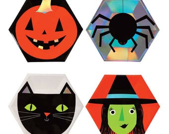 Meri Meri large Halloween paper plates (8). Halloween party supplies. witch party plates. vampire plates. kids halloween tableware. witches